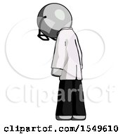 Gray Doctor Scientist Man Depressed With Head Down Back To Viewer Left