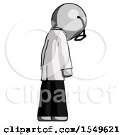 Gray Doctor Scientist Man Depressed With Head Down Back To Viewer Right