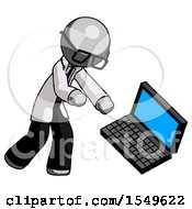 Gray Doctor Scientist Man Throwing Laptop Computer In Frustration