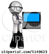 Gray Doctor Scientist Man Holding Laptop Computer Presenting Something On Screen