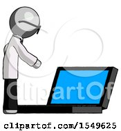 Gray Doctor Scientist Man Using Large Laptop Computer Side Orthographic View