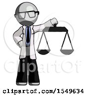 Gray Doctor Scientist Man Holding Scales Of Justice