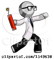 Gray Doctor Scientist Man Throwing Dynamite