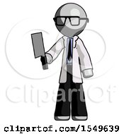 Gray Doctor Scientist Man Holding Meat Cleaver