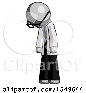 Gray Doctor Scientist Man Depressed With Head Down Turned Left