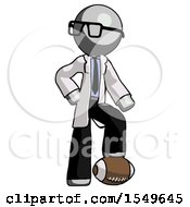 Gray Doctor Scientist Man Standing With Foot On Football