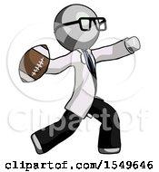 Gray Doctor Scientist Man Throwing Football