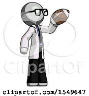 Gray Doctor Scientist Man Holding Football Up