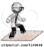 Gray Doctor Scientist Man On Postage Envelope Surfing