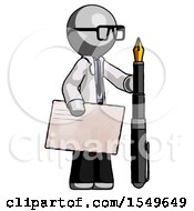 Gray Doctor Scientist Man Holding Large Envelope And Calligraphy Pen