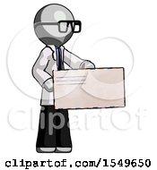 Gray Doctor Scientist Man Presenting Large Envelope