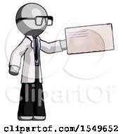 Gray Doctor Scientist Man Holding Large Envelope