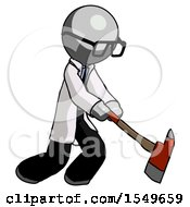 Gray Doctor Scientist Man Striking With A Red Firefighters Ax