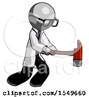 Gray Doctor Scientist Man With Ax Hitting Striking Or Chopping