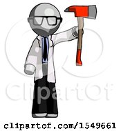 Gray Doctor Scientist Man Holding Up Red Firefighters Ax