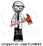 Gray Doctor Scientist Man Holding Red Fire Fighters Ax