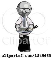 Gray Doctor Scientist Man Serving Or Presenting Noodles