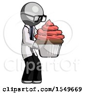 Gray Doctor Scientist Man Holding Large Cupcake Ready To Eat Or Serve