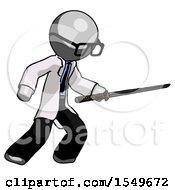Gray Doctor Scientist Man Stabbing With Ninja Sword Katana