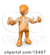 Orange Person Such As A Boss Or Manager Holding A Strand Of Paper People Symbolizing Control Or Teamwork by 3poD