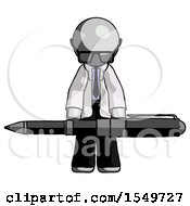 Gray Doctor Scientist Man Weightlifting A Giant Pen