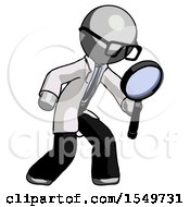 Gray Doctor Scientist Man Inspecting With Large Magnifying Glass Right