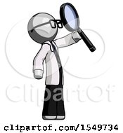 Gray Doctor Scientist Man Inspecting With Large Magnifying Glass Facing Up