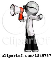 Gray Doctor Scientist Man Shouting Into Megaphone Bullhorn Facing Left