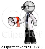 Gray Doctor Scientist Man Holding Megaphone Bullhorn Facing Right