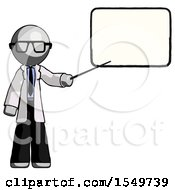 Gray Doctor Scientist Man Giving Presentation In Front Of Dry Erase Board