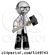 Gray Doctor Scientist Man With Sledgehammer Standing Ready To Work Or Defend
