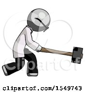 Gray Doctor Scientist Man Hitting With Sledgehammer Or Smashing Something