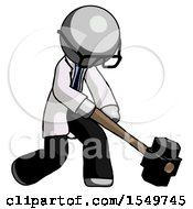 Gray Doctor Scientist Man Hitting With Sledgehammer Or Smashing Something At Angle