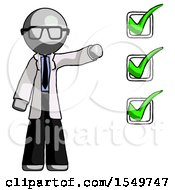 Gray Doctor Scientist Man Standing By List Of Checkmarks