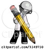 Gray Doctor Scientist Man Writing With Large Pencil