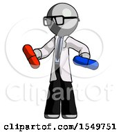 Gray Doctor Scientist Man Red Pill Or Blue Pill Concept
