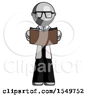 Poster, Art Print Of Gray Doctor Scientist Man Reading Book While Standing Up Facing Viewer