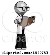 Poster, Art Print Of Gray Doctor Scientist Man Reading Book While Standing Up Facing Away