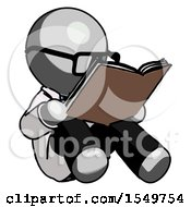 Poster, Art Print Of Gray Doctor Scientist Man Reading Book While Sitting Down