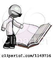 Poster, Art Print Of Gray Doctor Scientist Man Reading Big Book While Standing Beside It
