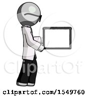 Gray Doctor Scientist Man Show Tablet Device Computer To Viewer Blank Area