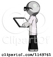 Gray Doctor Scientist Man Looking At Tablet Device Computer With Back To Viewer