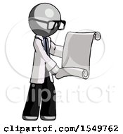 Gray Doctor Scientist Man Holding Blueprints Or Scroll