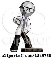Gray Doctor Scientist Man Cleaning Services Janitor Sweeping Floor With Push Broom