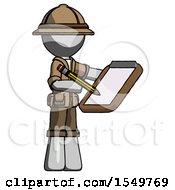 Gray Explorer Ranger Man Using Clipboard And Pencil