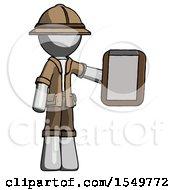 Gray Explorer Ranger Man Showing Clipboard To Viewer