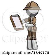 Gray Explorer Ranger Man Reviewing Stuff On Clipboard