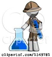 Gray Explorer Ranger Man Holding Test Tube Beside Beaker Or Flask