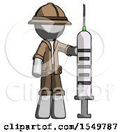 Gray Explorer Ranger Man Holding Large Syringe