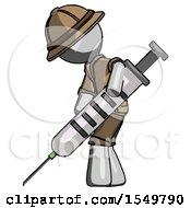 Gray Explorer Ranger Man Using Syringe Giving Injection